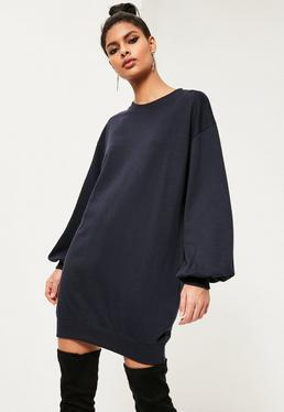 Blue Balloon Sleeve Jumper Dress