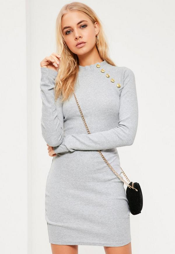 Grey Military Button Bodycon Dress