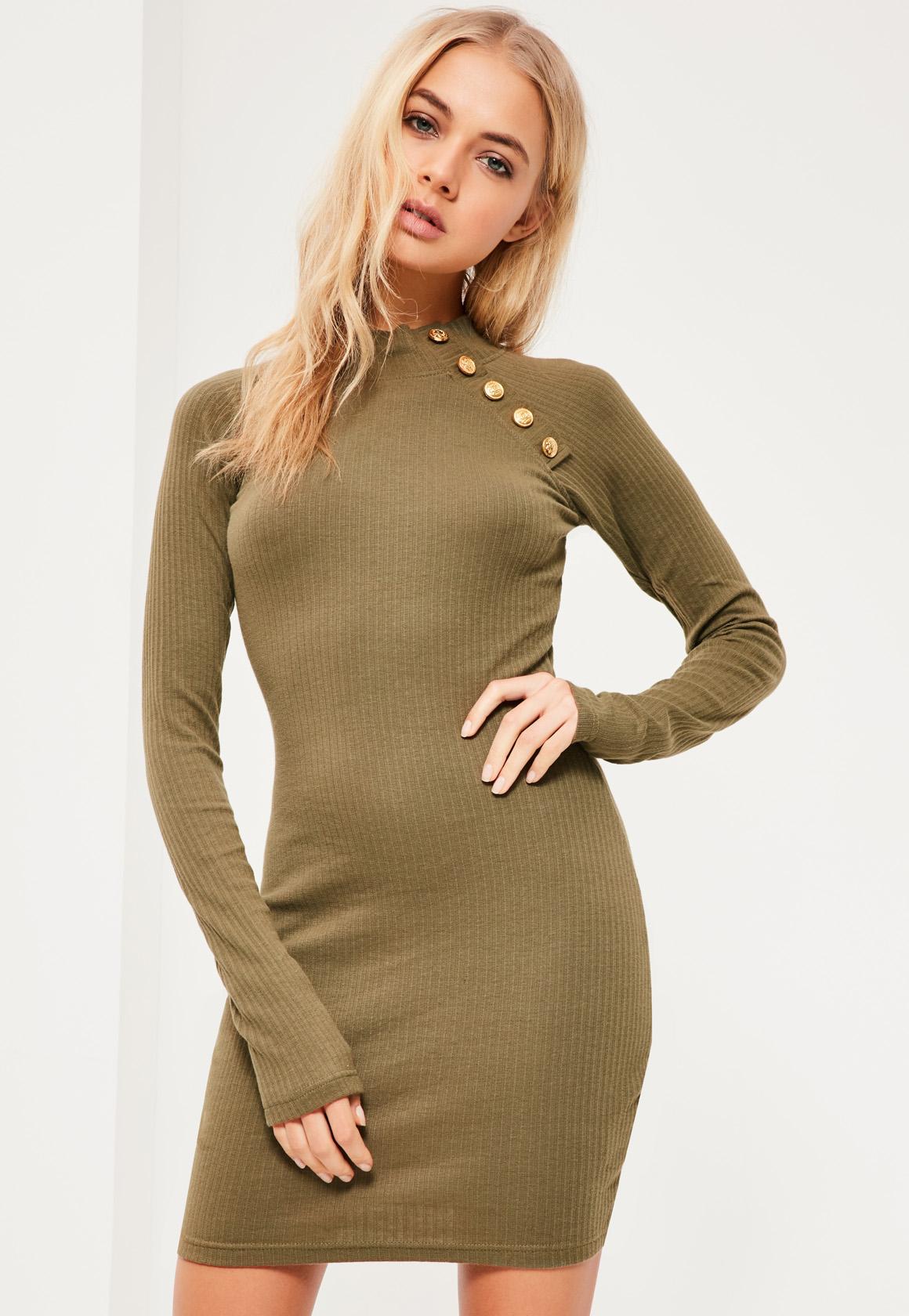 Khaki Military Button Bodycon Dress
