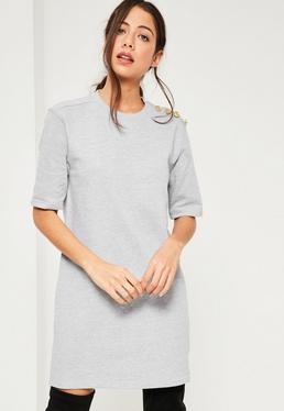 Grey Military Button Shift Dress