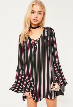 Black Stripe Tie Front Flared Sleeve Swing Dress