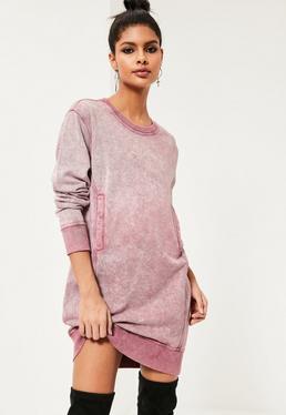 Robe-sweat rose délavée à poches