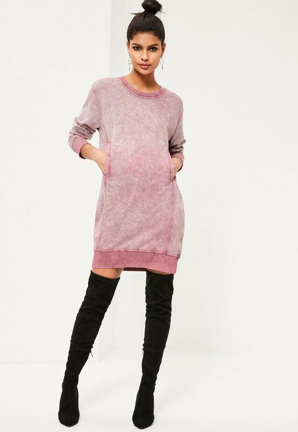 Pink Wash Pocket Oversized Sweater Dress | Missguided