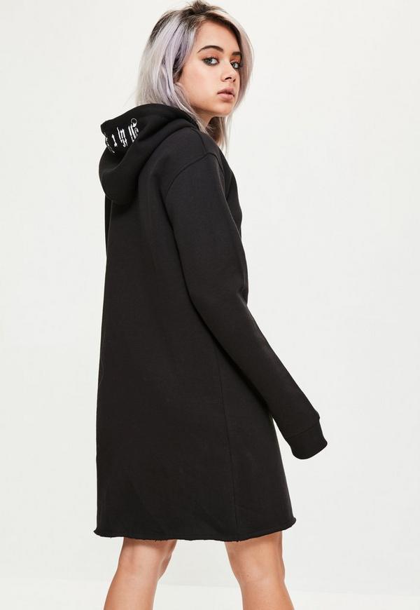 Black distressed hem hooded slogan Sweater dress