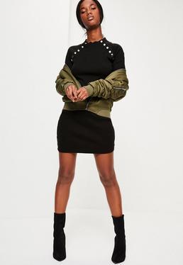 Black Stud Detail Bodycon Dress
