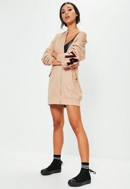 Nude Badge Arm Zip Oversized Dress