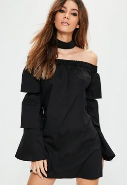 Black Choker Neck Paper Bag Top Bardot Dress