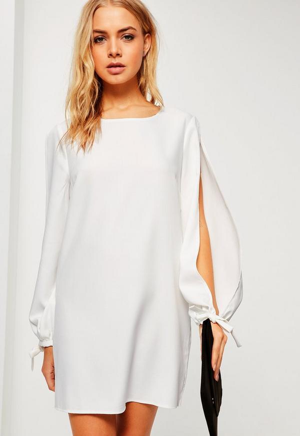 White Split Sleeve Tie Cuff Shift Dress