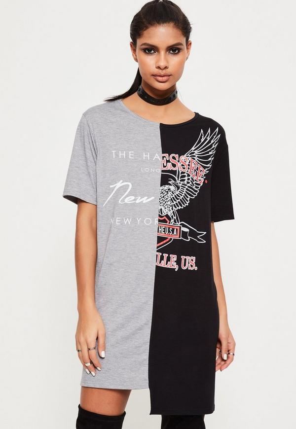 Black Split T Shirt Dress
