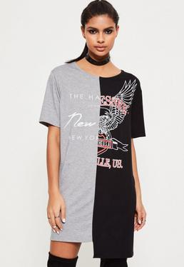 T-Shirt-Kleid im Kontrastdesign in Schwarz