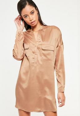Robe-chemise couleur or rose