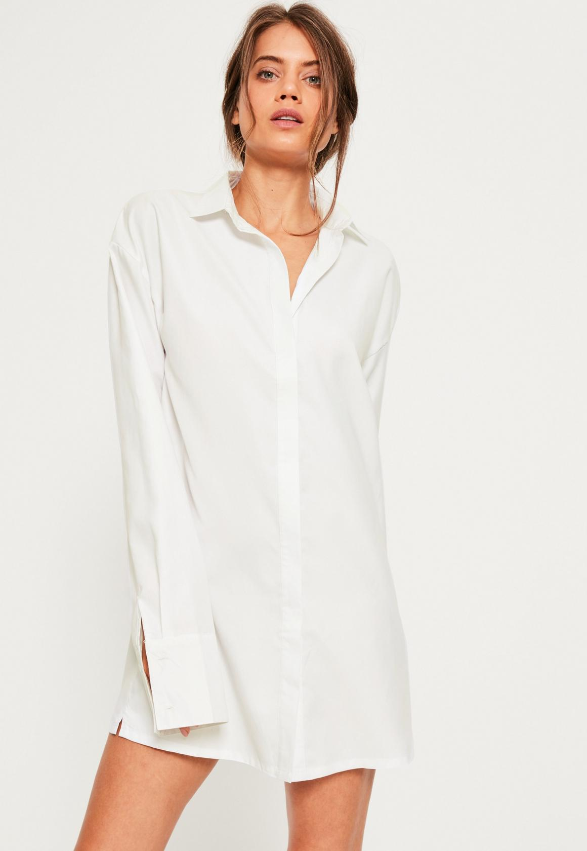 White Soft Touch Shirt Dress | Missguided