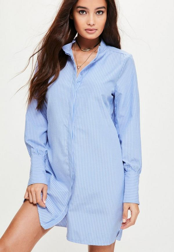 Blue Pinstripe Gold Button Cuff Shirt Dress