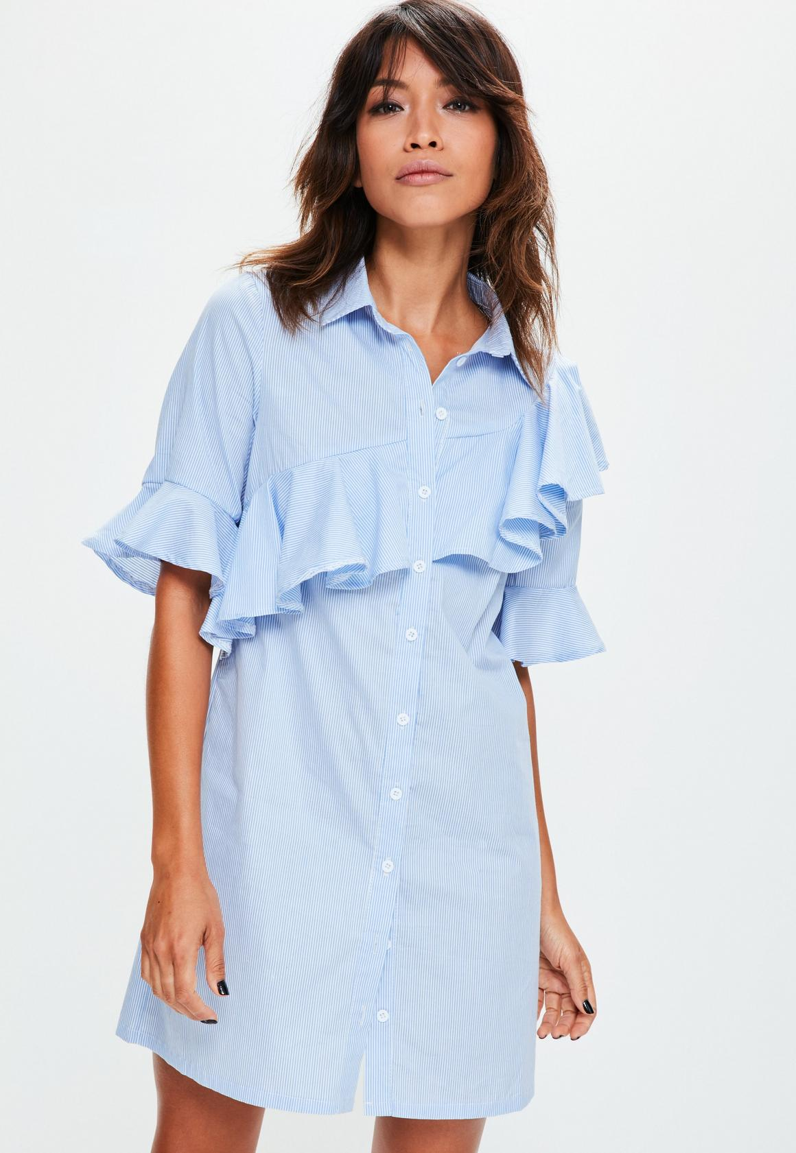 Blue Striped Ruffle Short Sleeve Shirt Dress | Missguided Ireland