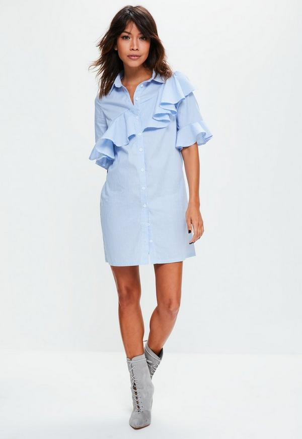 Blue Striped Ruffle Short Sleeve Shirt Dress | Missguided