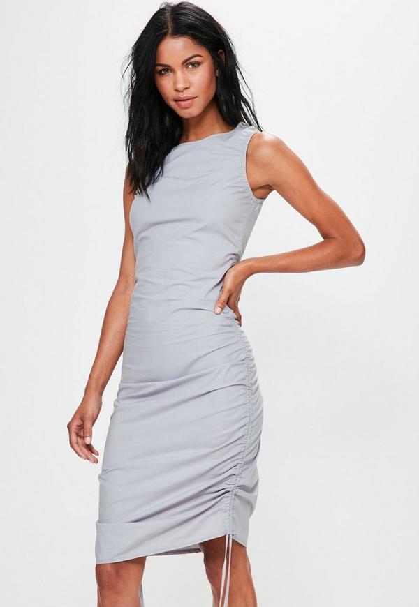 robe moulante grise avec d tail fronc sur le c t missguided. Black Bedroom Furniture Sets. Home Design Ideas