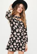Black Rose Print Lace Up Neck Skater Dress