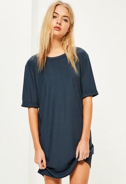 Blue Rib Oversized T Shirt Dress