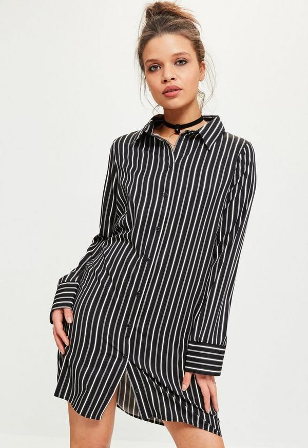 Black Stripe Big Cuff Shirt Dress