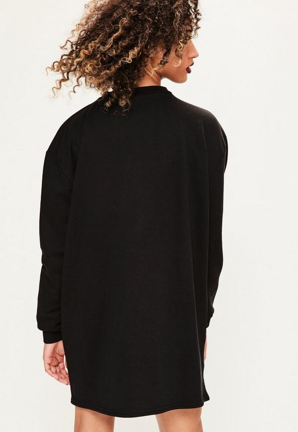 Black graphic choker neck jumper dress missguided