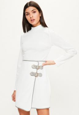 White High Neck Buckle Skirt Bodycon Dress