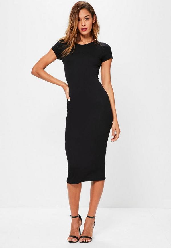 Black Short Sleeve Midi Dress