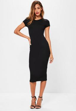 Czarna sukienka midi z krótkimi rękawami
