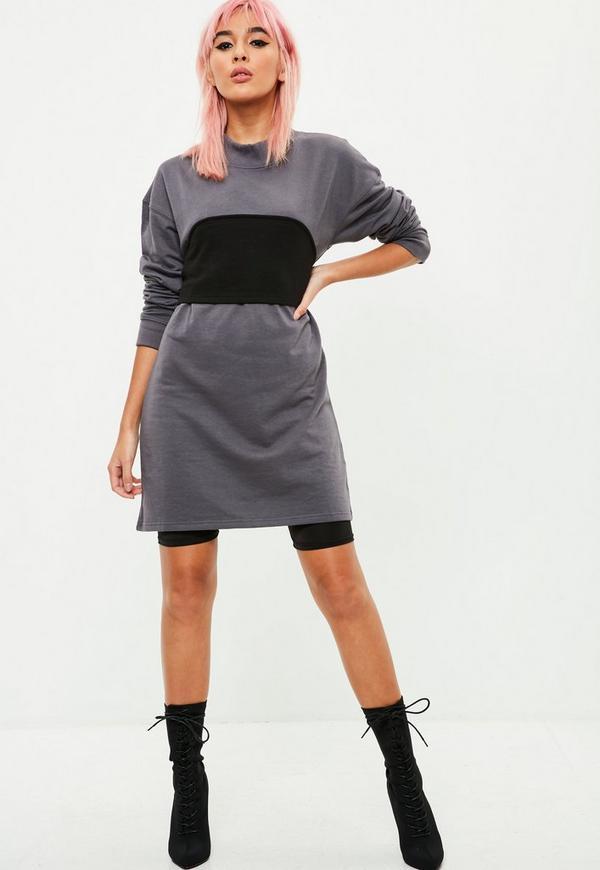 Grey Black Panel Sweater Dress