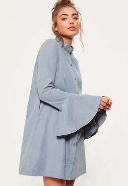 Blue Frill Cuff Soft Shirt Dress