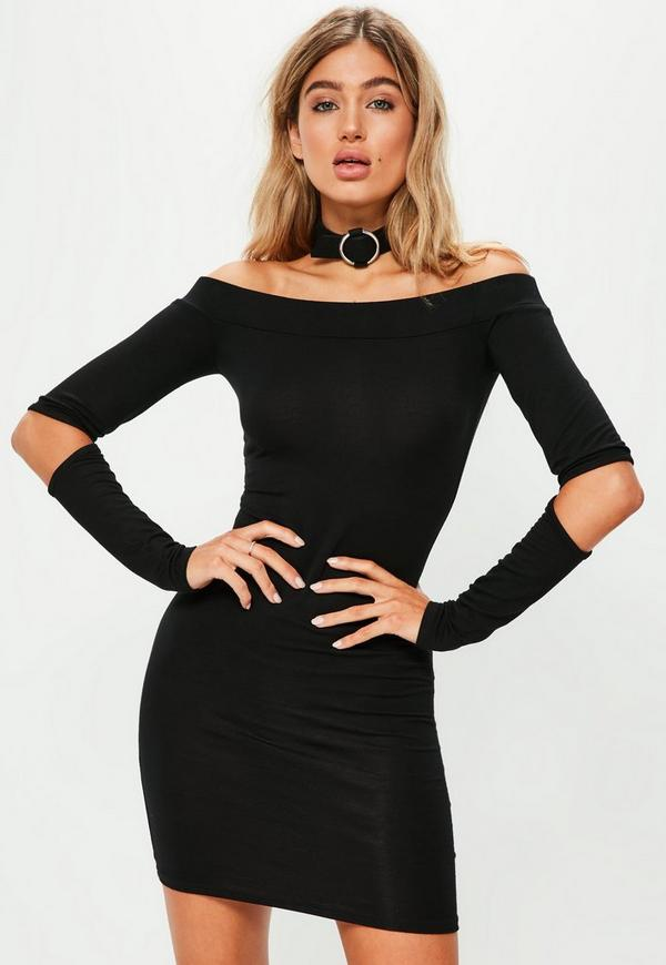 Black Slash Elbow Bardot Bodycon Dress