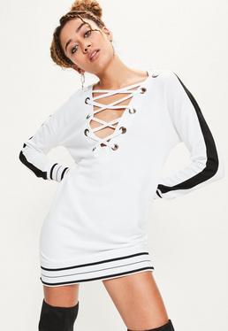 White contrasting stripe eyelet hooded jumper dress
