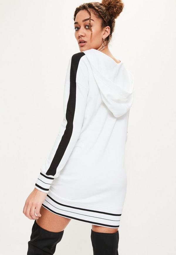robe pull blanche capuche avec bandes contrast es et oeillets missguided. Black Bedroom Furniture Sets. Home Design Ideas
