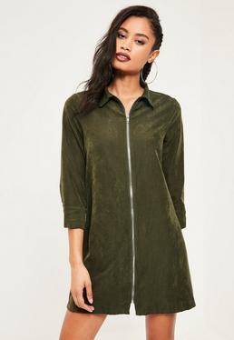 Robe vert kaki toute douce avec zip