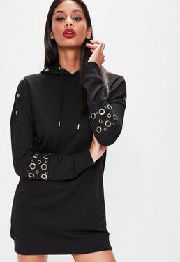 Black Metal Eyelet Detail Hooded Jumper Dress