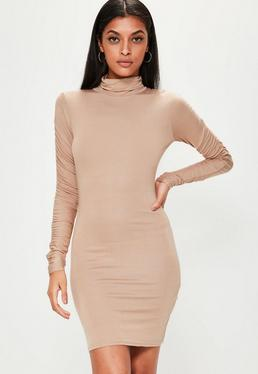 Nude Ruched Sleeve Bodycon Dress