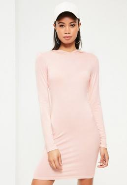 Pink Hooded Jersey Bodycon Dress