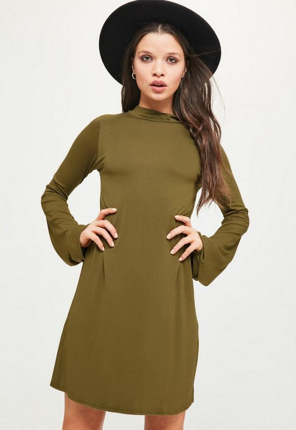 Khaki Balloon Sleeve Swing Dress