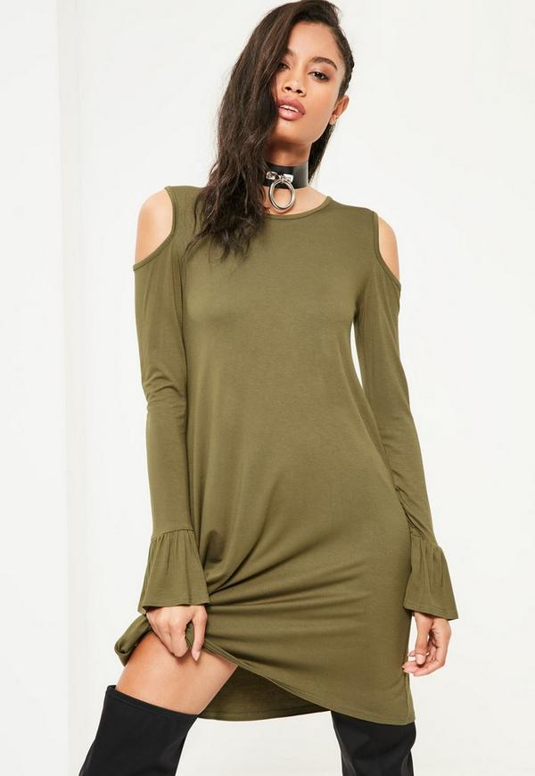 Khaki Cold Shoulder Ruffle Cuff Swing Dress