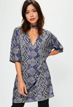 Grey Snake Print Choker Neck Shift Dress