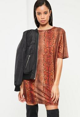 Orange Snake Print T-Shirt Dress