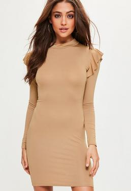 Camel Frill Shoulder High Neck Bodycon Dress