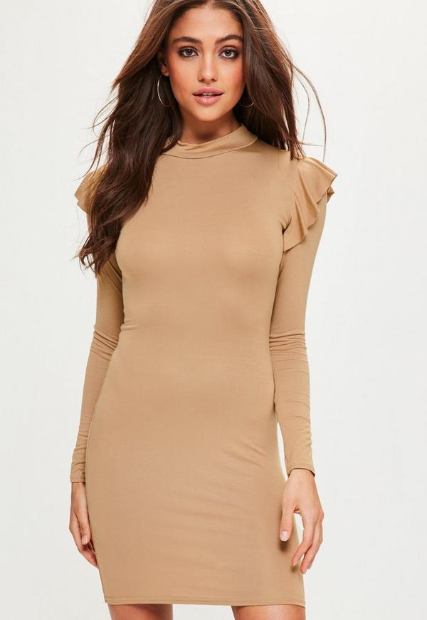 Camel Frill Shoulder High Neck Bodycon Dress