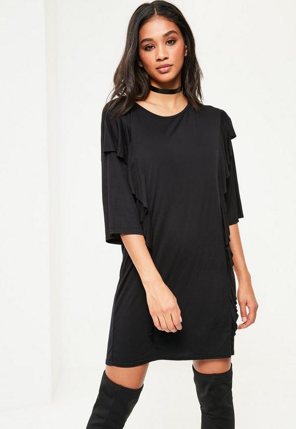 black frill front t shirt dress missguided. Black Bedroom Furniture Sets. Home Design Ideas