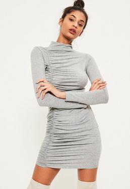 Grey Ruched Detail Bodycon Dress