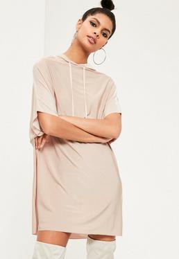 Beżowa luźna sukienka z kapturem