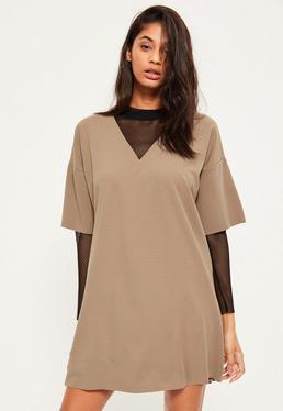 Brown Fishnet Sleeve Insert Shift Dress