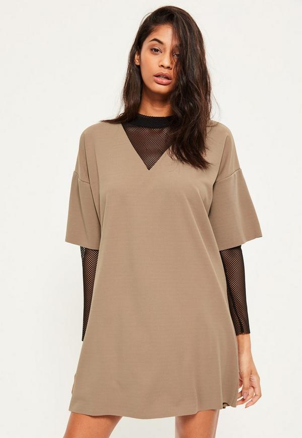 Brown Fishnet Sleeve Insert Shift Dress