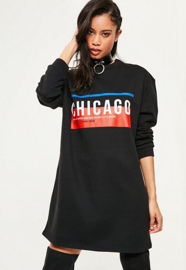 Black Chicago Graphic Sweater Dress