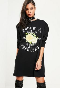 Black Young And Reckless Graphic Jumper Dress