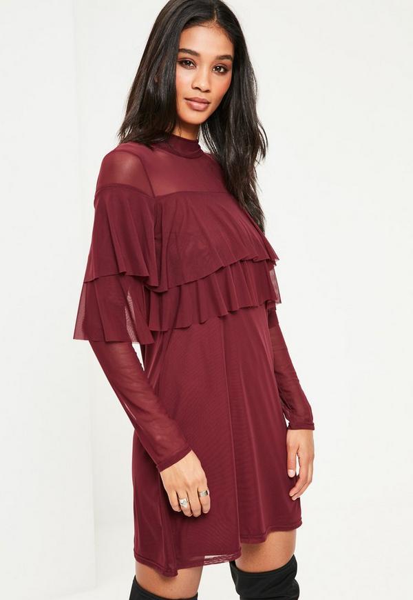 Burgundy Double Frill Swing Dress